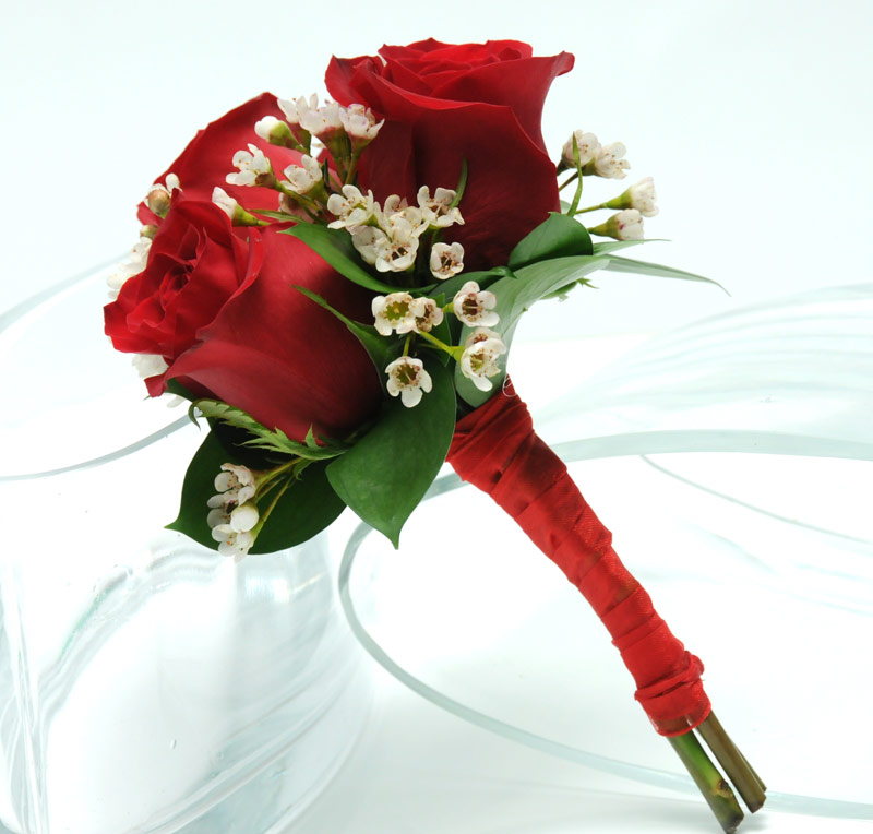 Red Rose Wedding Bouqet.Three Rose Bouquet Red