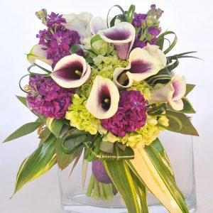 Picasso Mini Calla Lilly Bouquet & Matching Lilly Boutonniere