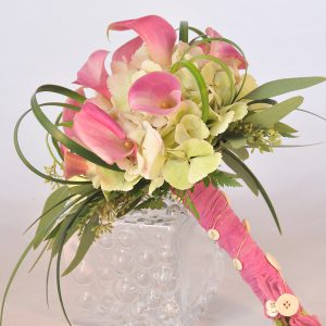 The Pink Mini Calla Lilly Bouquet & Matching Lilly Boutonniere